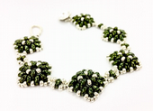 Diamond SuperDuo Bracelet Beadwork Kit - Green and Silver